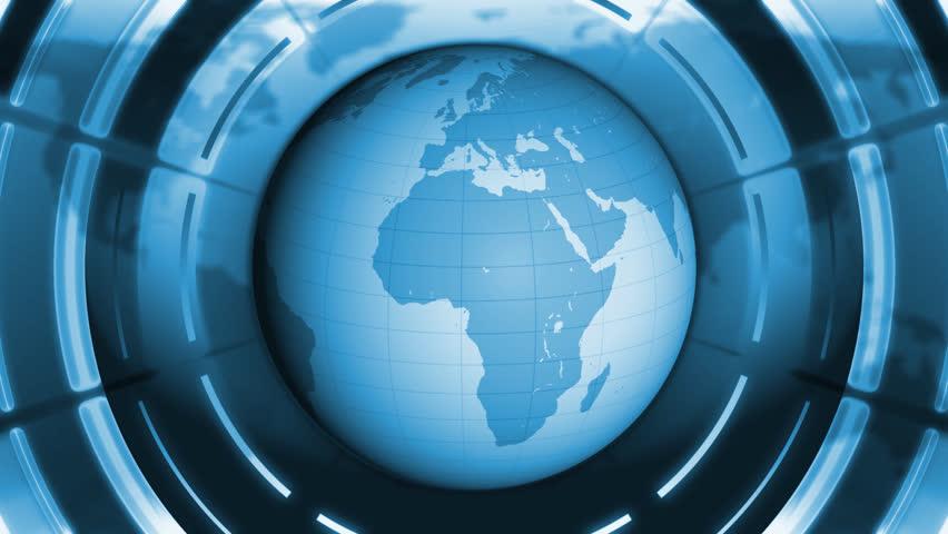 Blue World Globe 3d Motion Background.   Shutterstock HD Video #4780859
