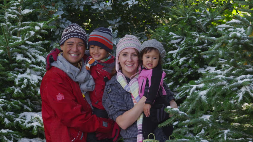 Portrait of family in snowy weather