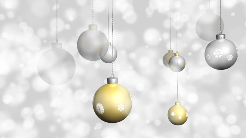 gold and silver christmas ornaments background loopable