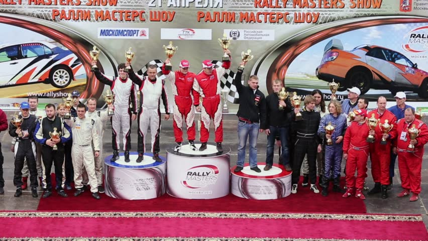 MOSCOW - APR 21: Award ceremony in sports complex Krylatsky during Rally Masters Show on April 21, 2012 in Moscow, Russia. First cars race took place in 1894.
