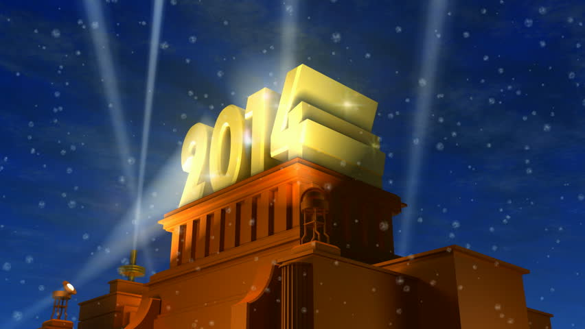 Creative New Year 2014 celebration concept: shiny golden 2014 text on pedestal at night with snow in cinema style   Shutterstock HD Video #4819748