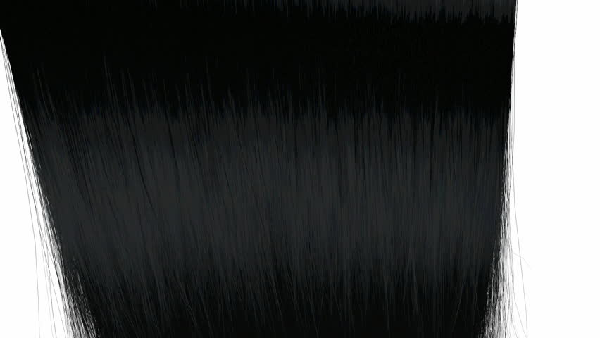 An abstract view of a bunch of black straight hair moving left then right on an isolated white background