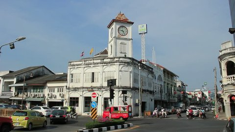 PHUKET - APRIL 2, 2013: Promthep Clock Tower in Old Phuket Town. Is one of the famous place in Phuket Island. Portuguese style building.