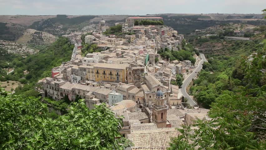 Italy, Italia, Sicily, Sicilia, travel and city. View of the baroque town of Ragusa Ibla on hilltop. Sequence, 5 of 11 | Shutterstock HD Video #4842479