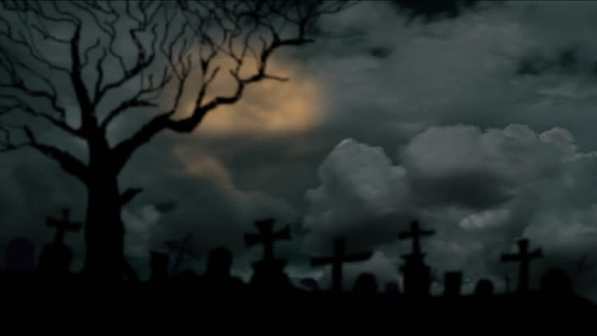 Spooky Full Moon Shines Over Dark Graveyard In Mist