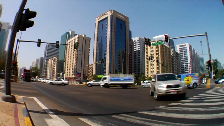 ABU DHABI, UNITED ARAB EMIRATES-CIRCA 2012-Time lapse of traffic on streets in Abu Dhabi in the United Arab Emirates.