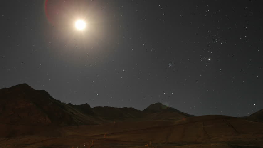 Aconcagua Time Lapse - Moon traveling across mountain sky