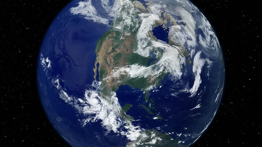 Earth Complete Spin Loop Close Up To Northern Hemisphere Night - Usa northern hemisphere