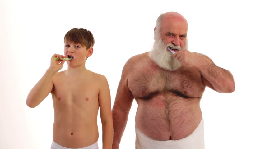 Grandpa And His Grandson Brushing Their Teeth Stock -1816