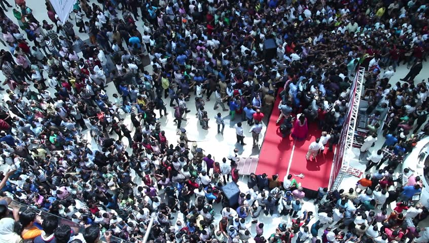 Crowded shopping at mall in India. crazy crowd running behind a celebrity. Unusual. Commuters aerial view.Group of Indian people / shoppers walking / rushing top view | Shutterstock Video #4901951