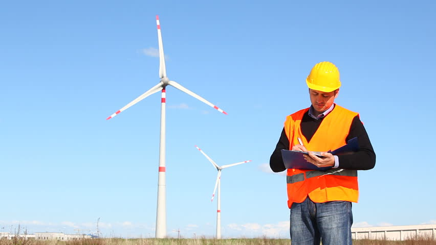Engineer at Work in a Wind Turbine Power Station