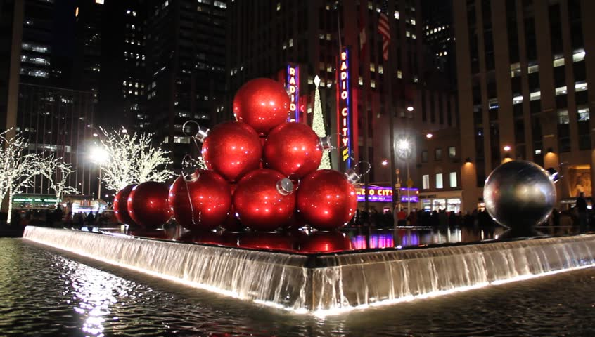 New York Ny Circa 2017 Christmas Decorations In City Fountain Radio Music Hall The Background