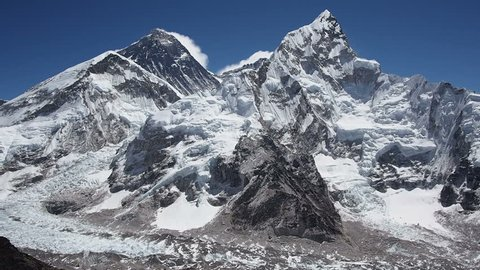 Mount Everest and Nuptse seen from Kala Patthar in the Nepal Himalaya.
