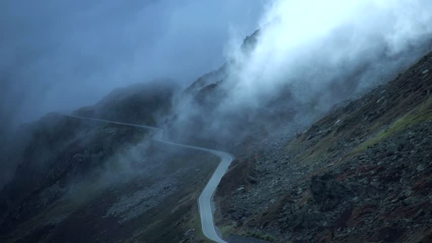 road. foggy mountain landscape. time lapse. nature. 1920x1080. fog clouds.