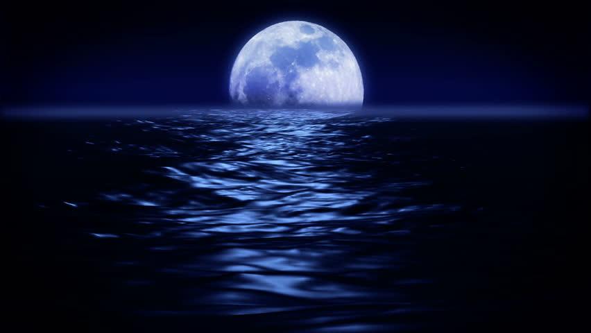 Flight above the ocean on a moonlit night