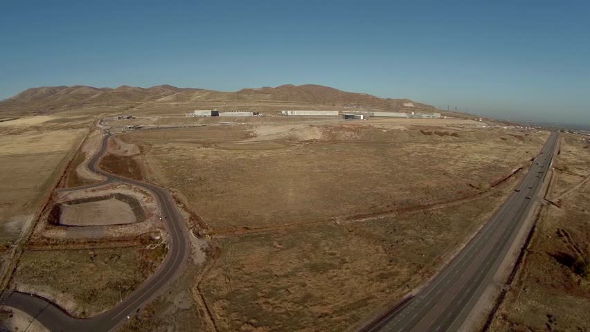 Aerial fly over of the National Security Agency Data Center in Lehi Utah