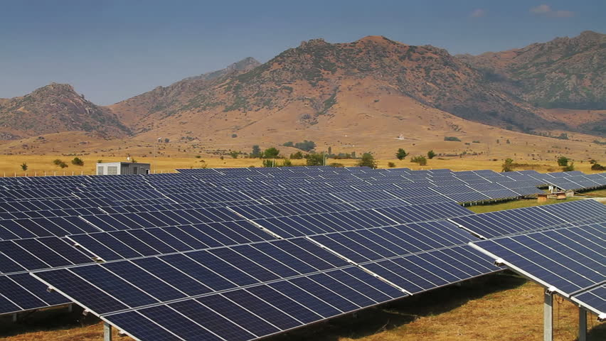 Countryside scenery with solar power plants