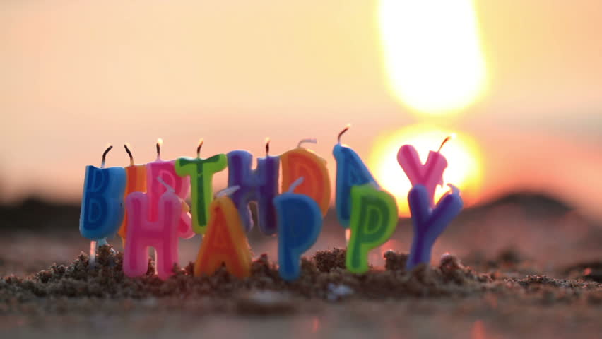 Colourful Birthday Candles Spelling Out The Alphabet Letters