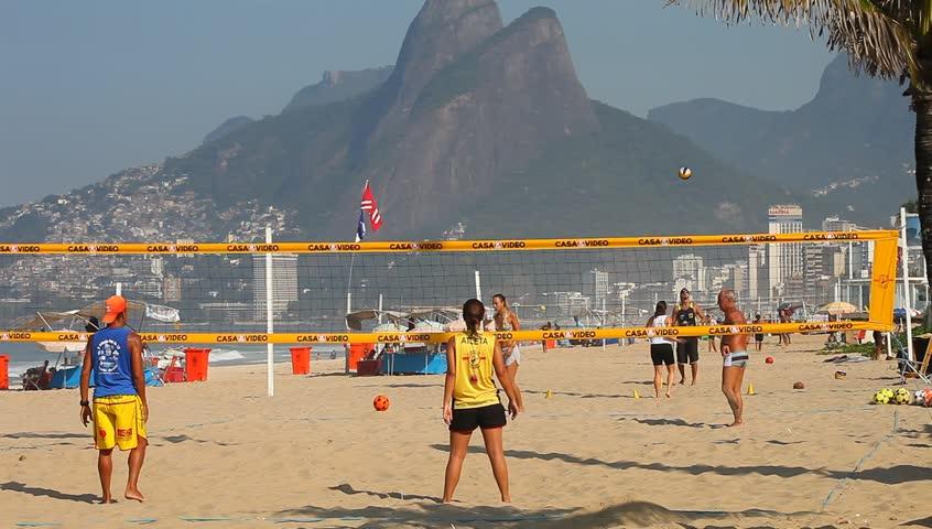 Brazil, April 2013: Beach Soccer on Ipanema important point of sports in Rio de Janeiro.