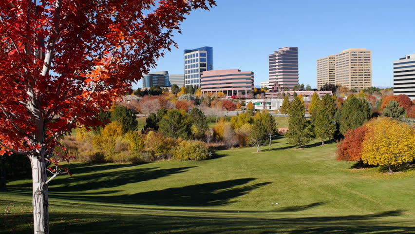 The Denver Tech Center, or DTC, in Autumn with beautiful trees. HD 1080p pan.