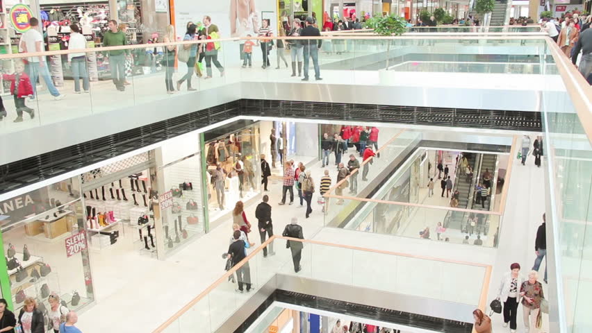 Slightly defocused crowd of walking people in the newly opened shopping mall center | Shutterstock HD Video #4978907