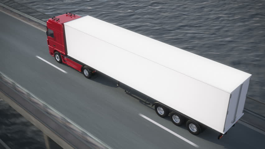 truck driving along a bridge revealing its load - pan from behind to above - high quality 3d animation