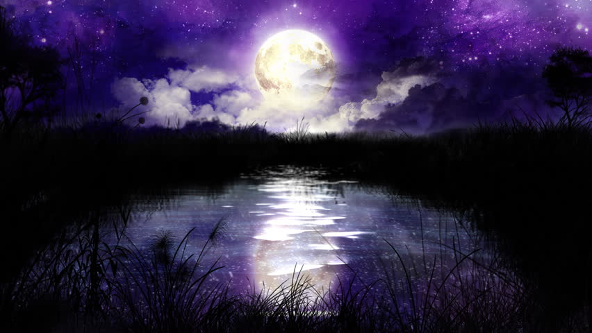 Magic Night over the pond- Loop. Night butterflies hovering over silver pond. Great moon coming out from behind the clouds and the water reflects the entire sky. Stars flickers in the sky.