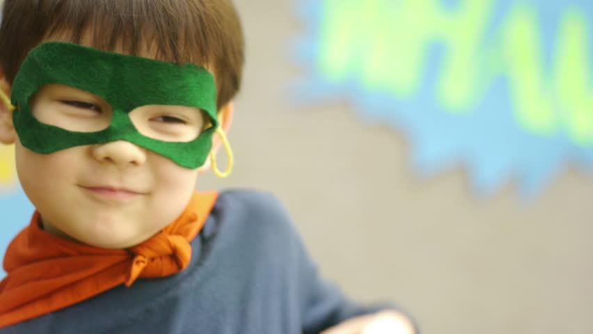 Little Boy Practices Superhero Moves   Shutterstock HD Video #4986389