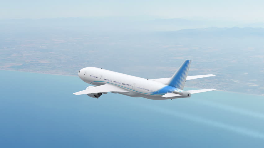 Commercial jet airplane flies at high altitude above the sea