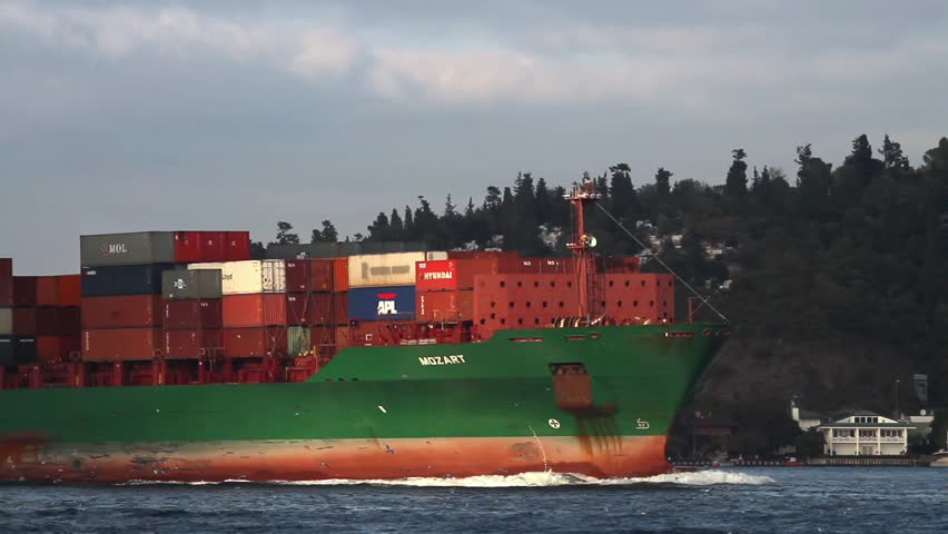 ISTANBUL - OCT 26: Container cargo ship MOZART (IMO: 9337274, Liberia) full of