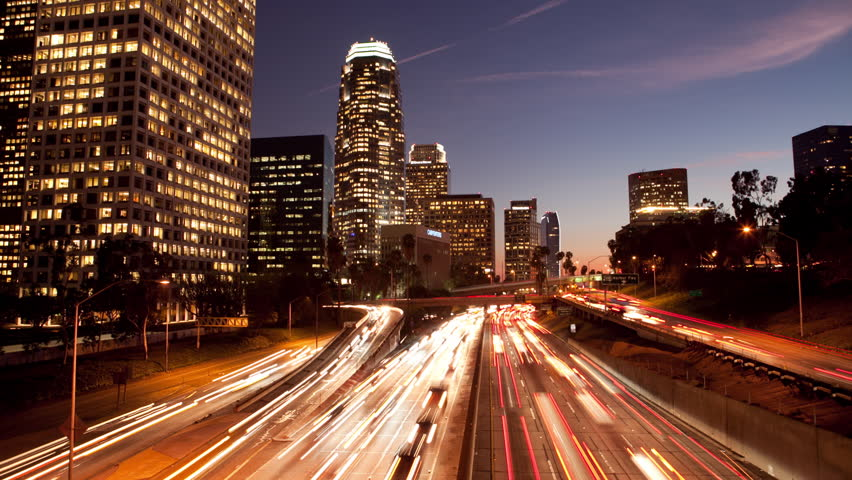 Long Exposure Time Lapse of Night Traffic in Los Angeles California | Shutterstock HD Video #5001578