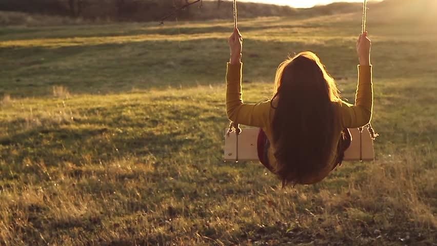 Young Woman Joyful Swing Sunset Vintage   Shutterstock HD Video #5006579