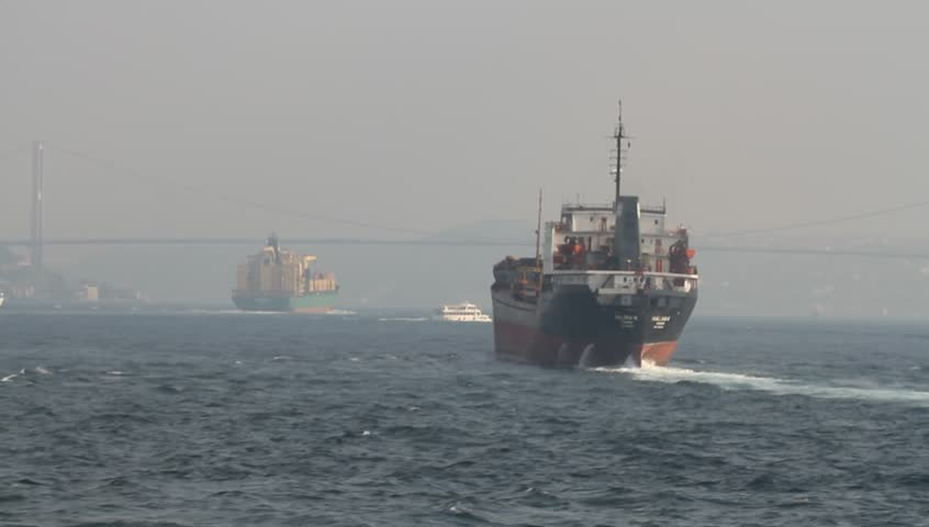 Sea traffic with cargo ships.