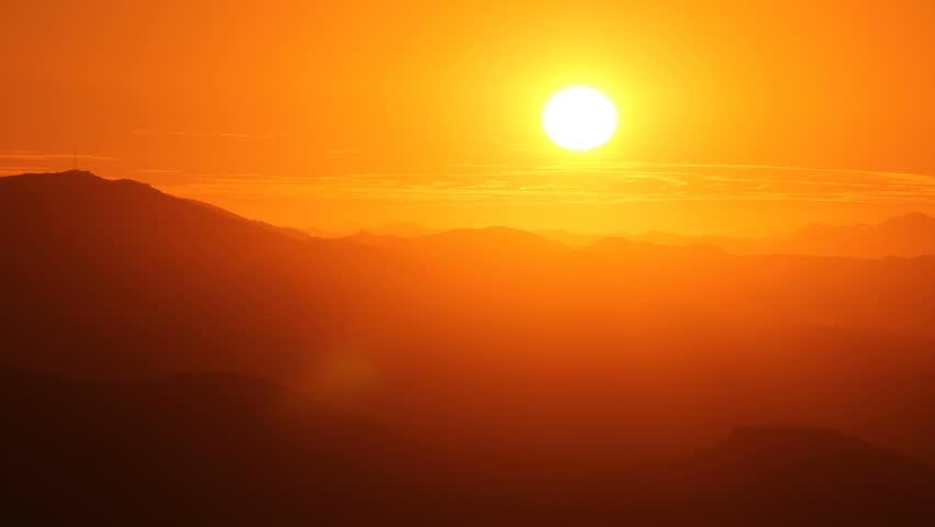 Southern California Santa Monica Mountains sunset time lapse.