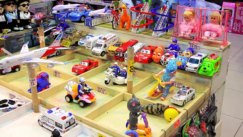 ISTANBUL - JUL 3: Toys shop at Eminonu underpass on July 3, 2013 in Istanbul,
