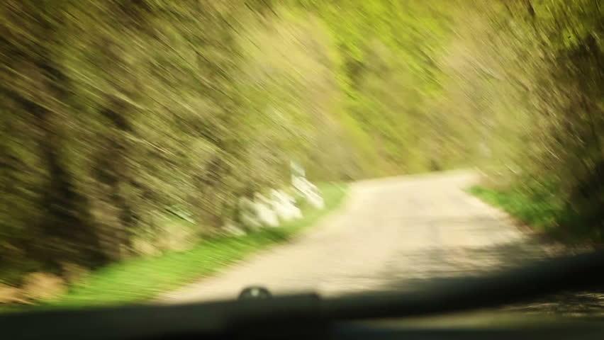 Mountain road: Rally Racing car inside windshield view