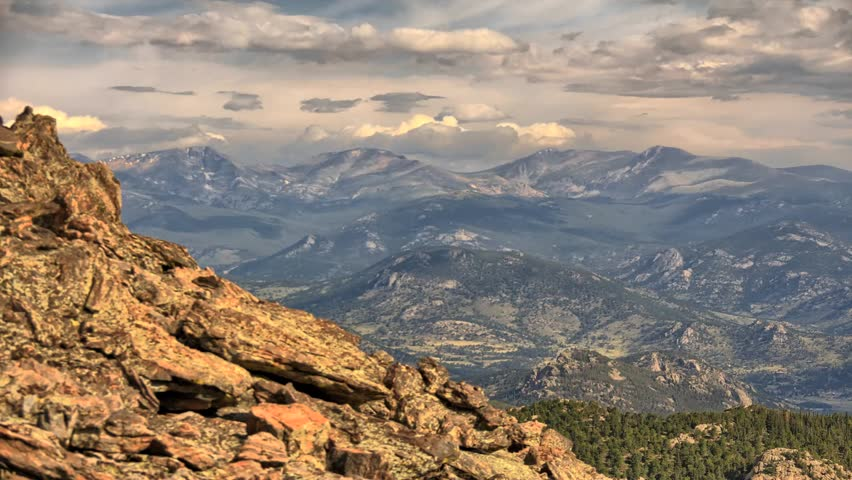 Beautiful time lapse of mountains & clouds at Twin Sisters Peak in Rocky Mountain National Park, Colorado.