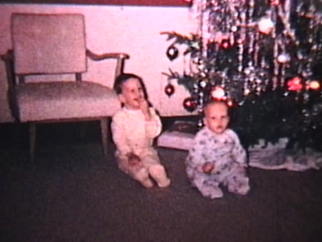 Older brother getting scolded for touching the Christmas ornaments! (1965 - Vintage 8mm film footage)
