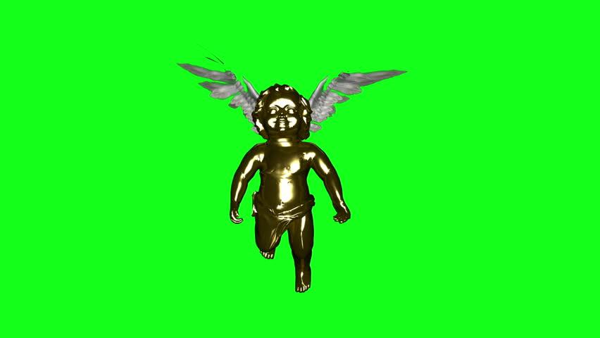 Golden Cherub flapping wings loop. Green Screen.