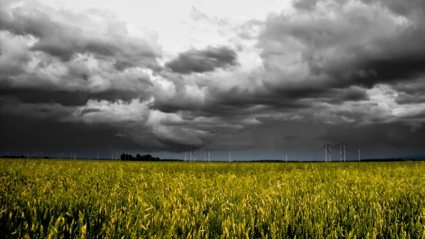 dramatic hd panning time-lapse of black and white storm clouds over colorful grain fields