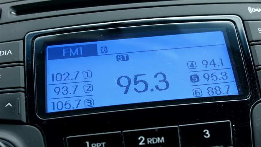 Car radio display changing channel HD.  Changing the blue light screen radio. Closeup while driving and looking for entertainment. | Shutterstock HD Video #5075828