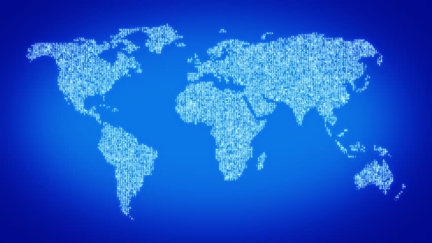 Stock Video Of Numbers And Symbols Form The World - World map in blue color