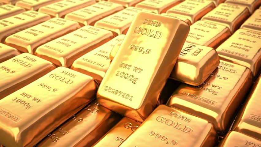 Fine Gold bars in bank vault