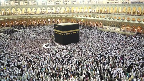 Muslim pilgrims circumambulate the Kaaba at Masjidil Haram  in Makkah, Saudi Arabia. Muslims all around the world face the Kaaba during prayer time.