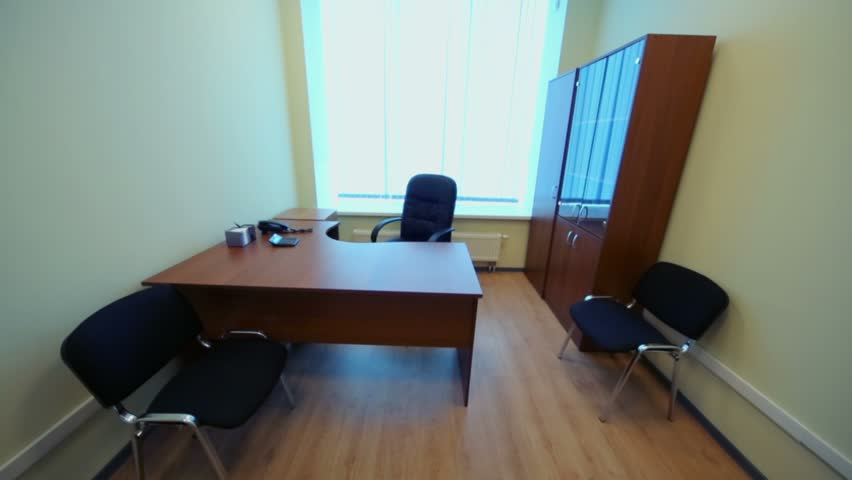 Interior Of Small Empty Room With Office Furniture And Window   HD Stock  Video Clip Part 45