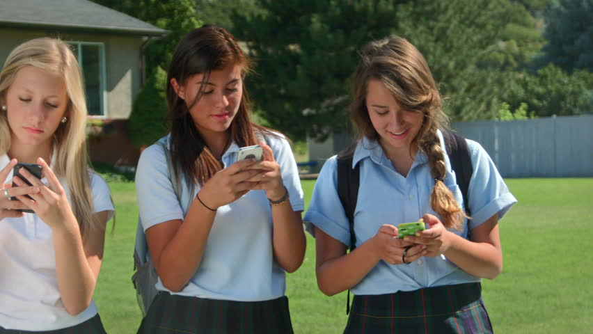 Three Pretty Uniformed Teen School Stock Footage Video -9681