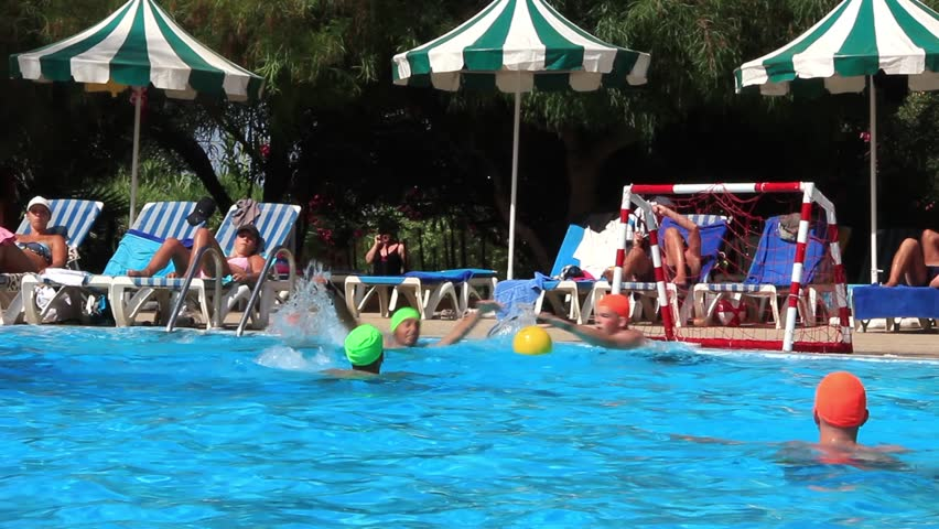 Hotel pool with people  Azure, Ukraine - 15 July 2016: Pool Full Of People At The Hotel ...