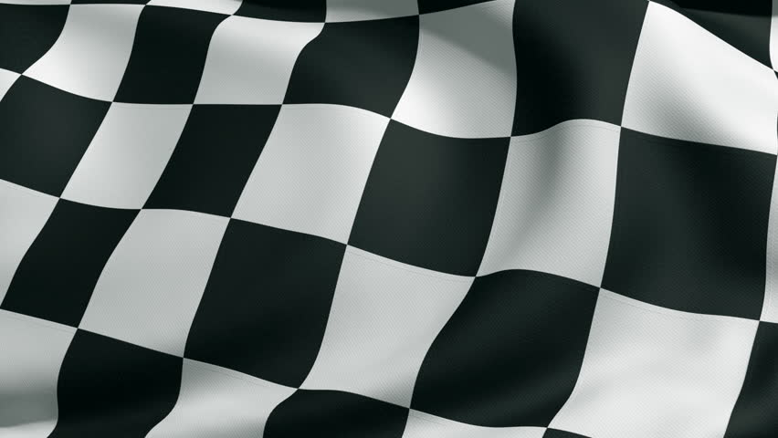3d animation of checkered flag -Close up