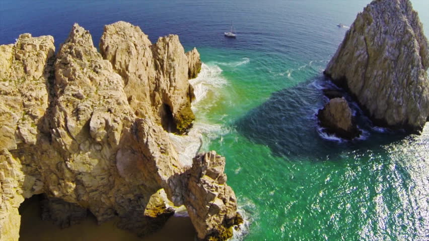 Rare unique aerial straight down view of the Arch at Lands End Cabo San Lucas, Mexico