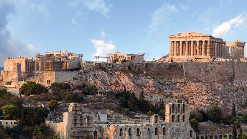Parthenon temple on Athenian Acropolis, Athens, Greece - timelapse #5178623